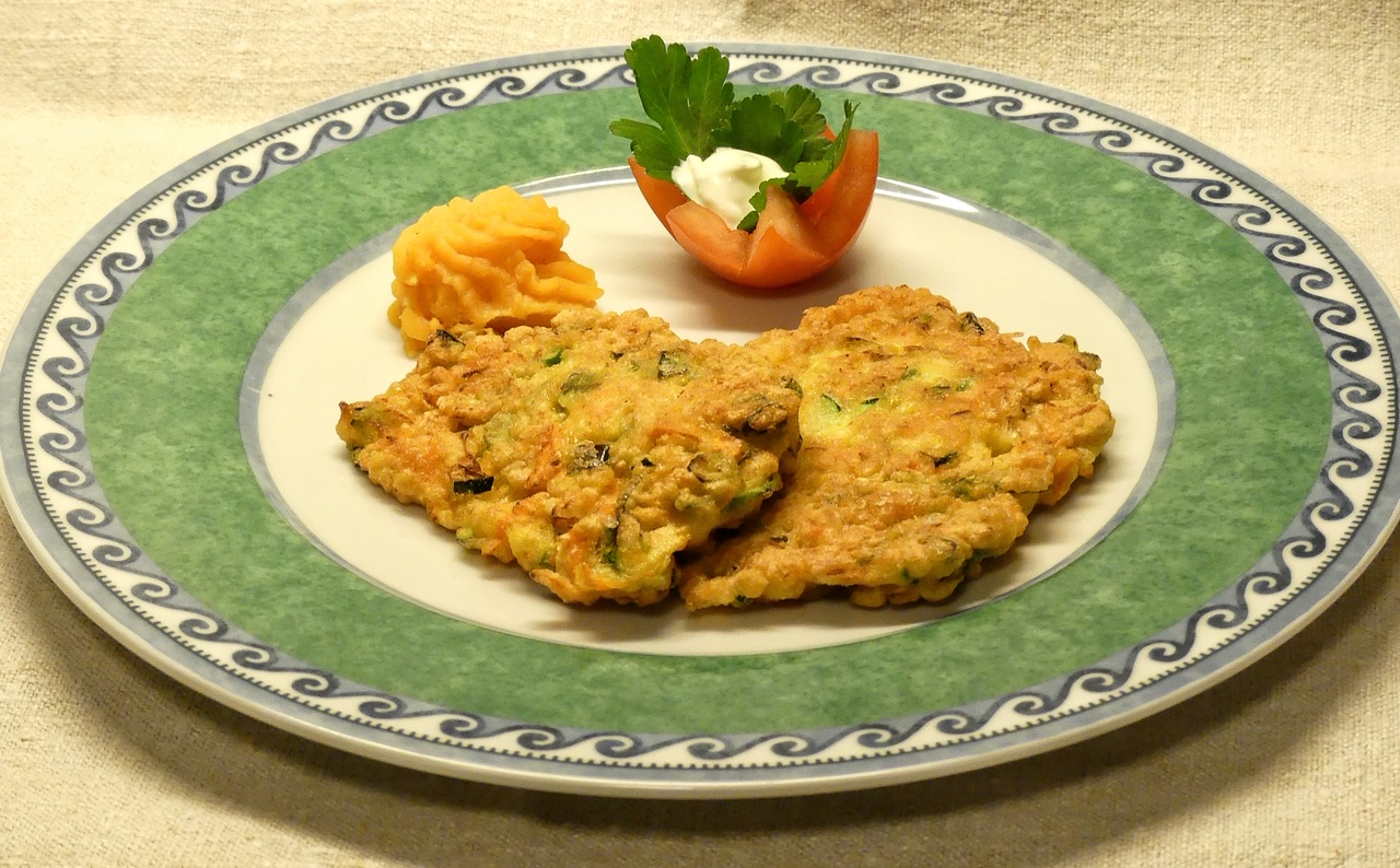 Pancakes with zucchini and carrots